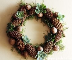 A Natural Christmas Wreath - learn how to make this wreath which consists of magnolia cones, walnuts & succulents #Christmas #decorations