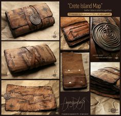"""Crete island Map"" Aged leather tobacco pouch in copper closer. for orders please contact me at morgenland@gmail.com"