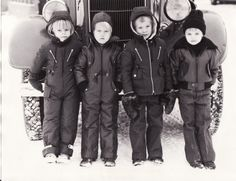 """#Reima70 Reima's employees kids as models in a photoshoot for fall 1976. In the backround Kankaanpää fire brigade's big red fire truck. The weather was really cold, which shows from kids faces. The collections were known as the """"DC-10"""" and """"Leather enstex"""" and they were hot stuff, and would still be, 38 years later. -Leena Fire Trucks, Winter Jackets, Faces, Collections, Weather, Photoshoot, Cold, Models, Big"""