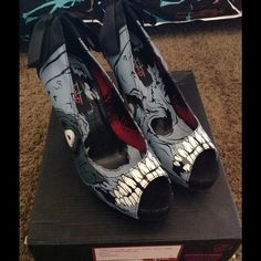 """NIB iron fist glow in the dark zombie stomper Open toe platform pumps with Glow in the Dark Zombie print. These have a satin ribbon, high heel, and concealed platform.4 1/2"""" heel with 3/4"""" platform. Please feel free to ask questions. No trades please pp preferred. Size 5 Iron Fist Shoes Platforms"""