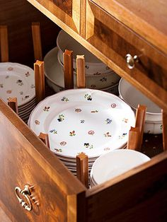 Kitchen Storage Ideas: store dishes with pegboard