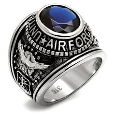 "Men's Stainless Steel ""United States Air Force"" Sapphire Cubic Zirconia Ring Eternal Sparkles http://www.amazon.com/dp/B005MZNX1Q/ref=cm_sw_r_pi_dp_uQK7ub0NCQDXX"