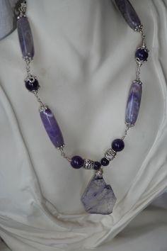 Amethyst, agate, sterling silver and metal necklace - Manresa Design