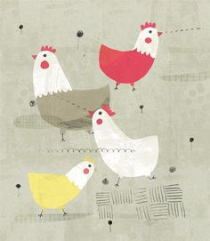 Chickens by Yara Kono Chicken Illustration, Pattern Illustration, Children's Book Illustration, Chicken Art, Chickens And Roosters, Farm Yard, Art For Kids, Character Design, Doodles