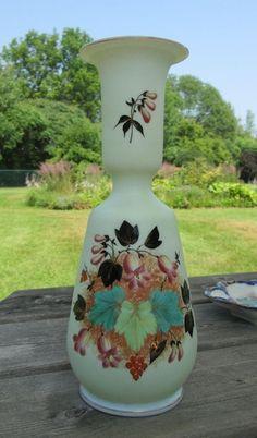 French Opaline Glass Vase Hand Painted Enamel Islamic Inspired Shape Floral 10 5 | eBay