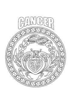 Adult Coloring Page Zodiac Cancer por PatternPixie en Etsy