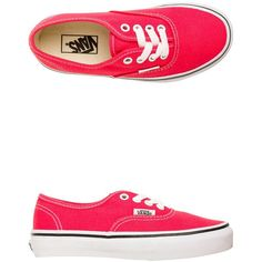 Vans Authentic Shoe (34 CHF) ❤ liked on Polyvore featuring shoes, sneakers, red, red canvas sneakers, red trainer, canvas footwear, vans shoes and lacing sneakers