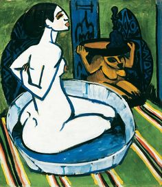 Ernst Ludwig Kirchner, Nude in Tub, 1911, Oil on canvas.