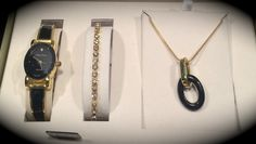 ⧮ Beautiful Gold Tone Cote d'Azur Gift Set ~ Quartz Watch ~ Tennis Bracelet ~ Trendy Necklace ⧮