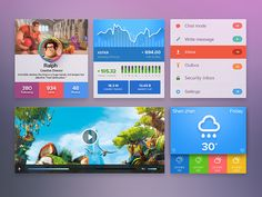 Beautiful UI Kit found on Dribbble. Very colorful!