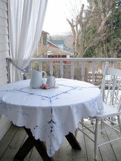 Tablecloth Table Linens Madiera Lace Blue and by mailordervintage