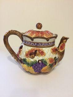 Vintage Fitz & Floyd Harvest Time Tea Pot by CottonTopVintage