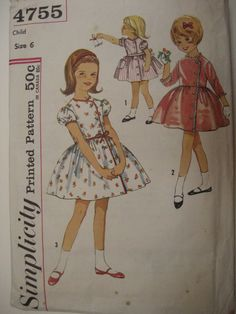 Vintage 1960's Girl's child's dress pattern flower girl and special occasion dress.. Size 6.Simplicity 4755  Measurements in description.. $7.95, via Etsy.