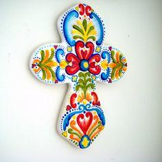 Pintado a mano Cruz cerámica arte folk sueco Cruz por sewZinski