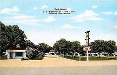 Carlsbad New Mexico NM 1952 Roadside View Park Motel Antique Vintage Postcard