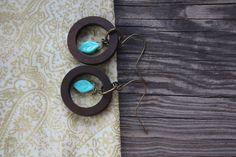 Wood Hoop and Turquoise Leaf Earrings - Dark Wood Jewelry - Turquoise Leaf Jewelry - Czech Glass Jewelry - Boho Earrings - Hippie - Bohemian by 3ArtsAddict on Etsy