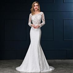 Trumpet+/+Mermaid+Wedding+Dress+Sweep+/+Brush+Train+Scoop+Lace+/+Satin+with+Appliques+–+CAD+$+166.79