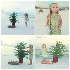 Beach Christmas card photo session. Decorating a Christmas tree on Pensacola Beach #beach #photography #christmas