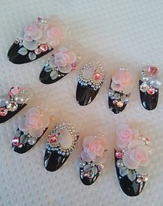 japanese 3d nails  black french roses 3d nails fake nails on Etsy, $25.00