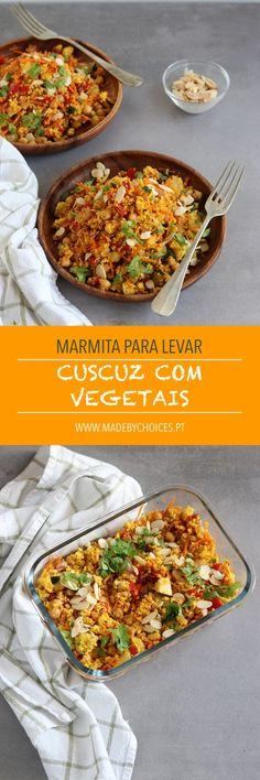CUSCUZ COM VEGETAIS - Marmita para levar #marmita #lancheira #cuscuz #vegano #receitasveganas