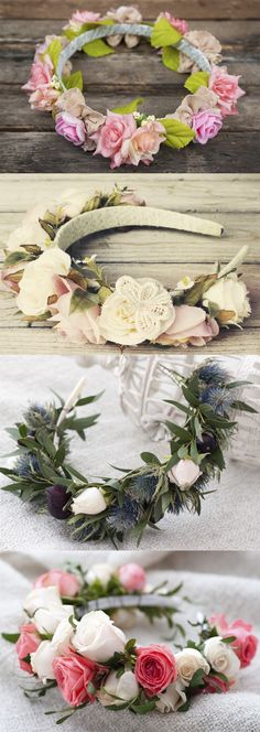 Flower crowns have been the new craze, but they can be really expensive to buy from the store. Check out these 6 steps to making a perfect flower crown, without spending a lot of money! Diy Flower Crown, Diy Flowers, Flower Crowns, Paper Flowers, Wedding Flowers, Flower Crown Headband, Flower Crown Outfit, Diy Headband, Floral Headbands