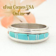 Four Corners USA Online - Size 7 1/4 Turquoise Inlay Ring Native American Wilbert Muskett Jr WB-1586, $135.00 (http://stores.fourcornersusaonline.com/size-7-1-4-turquoise-inlay-ring-native-american-wilbert-muskett-jr-wb-1586/)