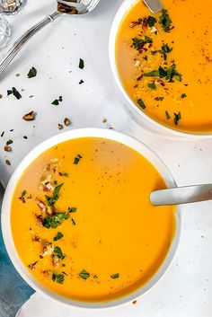 This creamy roasted sweet potato soup is dairy-free, vegan, and easy to make. From coconut milk to warming spices, this soup is perfect for fall. Creamy Soup Recipes, Fall Soup Recipes, Sweet Potato Soup, Roasted Sweet Potatoes, Stuffed Pepper Soup, Stuffed Peppers, Creamy Mushroom Soup, Tart Recipes, Appetizer Recipes