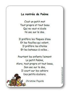 Poésie La rentrée de Poème de Christine Fayolle French Poems, French Education, French Classroom, French Language, Grade 1, Literacy, Kindergarten, Positivity, School