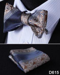 Men's Butterfly Self Tie Bow Tie and Pocket Square Set
