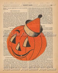 Vintage Halloween Pumpkin Encyclopedia Digital Collage Art Print - DIY You Print - Jack 0 Lantern - INSTANT DOWNLOAD