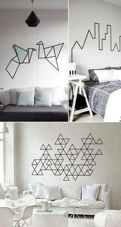 Decoração de paredes usando hashi tape, fazendo formas geométricas é possível mudar a cara de um ambiente e sem gastar muito. Saiba mais no blog clicando na foto!