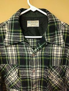 Vintage Men's Towncraft  PLUS JC Penney MW Wool Button Front Shirt Plaid Sz XL