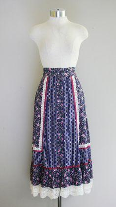 Prairie Chicken - Bohemian GUNNE SAX Skirt - Circa 1970s - Cotton Calico