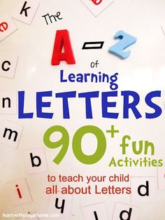 The A-Z of Learning Letters. 90+ ways to teach your child all about Letters! Kindergarten Literacy, Preschool Learning, Early Learning, Fun Learning, Learning Activities, Teaching Kids, Learning Shapes, Early Literacy, Toddler Learning