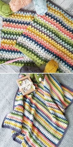 V-Stitch Blanket by Helen Boreham of Chain Space Designs This colorway has something really eye-catching to it Maybe it s because dark navy pops out among juicy yellows and delicate blues Try it for yourself Crochet Afghans, Afghan Crochet Patterns, Baby Blanket Crochet, Crochet Baby, Knitting Patterns, Knit Crochet, Crochet Blankets, Doll Patterns, Crochet Crafts