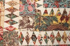 Detail, Exceptional Chintz Medallion c.) Quilt with diamond piecing made with fine quality French and English fabrics, polished chintz with some copper plate; x John McInnis Auctioneers, Live Auctioneers Old Quilts, Antique Quilts, Vintage Textiles, Vintage Quilts, Chintz Fabric, Civil War Quilts, Medallion Quilt, American Quilt, Quilt Border