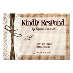 Rustic Burlap Lace Typography Wedding RSVP Cards