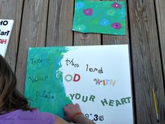 Quote Art- put sticker letters on canvas, paint, then peel letters off