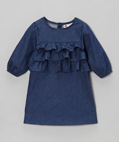 Look at this #zulilyfind! Blue Chambray Ruffle Dress - Infant, Toddler & Girls by Smockadot Kids #zulilyfinds