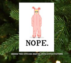 Bunny Suit Ralphie - NOPE. Digital Christmas cross stitch from the movie A Christmas Story - by MooseTreeStitches