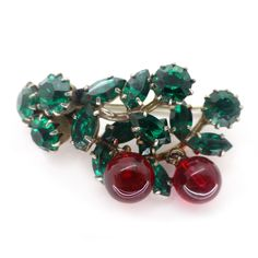 Vintage Art Deco Red Cherry Green Glass Drop Pin Brooch   Clarice Jewellery   Vintage Costume Jewellery