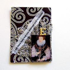 ATC - ACEO - ArtFire - ACEO atc Queen Elizabeth 1 mixed media collage card OOAK