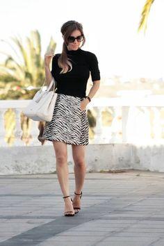 Love, love, love! Zara Black And White Chic Zebra Print Mini Skirt