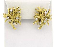 18k Gold Naturalistic Diamond Earrings