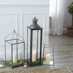 Hanging Lantern | The White Company. Shopping from the US? -> http://us.thewhitecompany.com/Home-%26-Bath/Candle-Holders/Hanging-Lantern/p/CAHFH?swatch=Gray