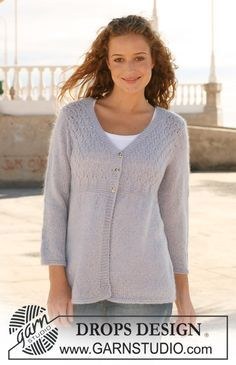 """DROPS jacket in """"Alpaca"""" and """"Kid-Silk"""" with 3/4 sleeves. Size S - XXXL. ~ DROPS Design"""