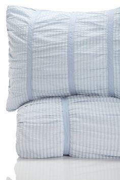 Luxury Sheets and Bedding  SXYz Timeless Love Seersucker Ruffled 100% Cotton Duvet - Mist Blue