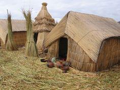 Grass huts Lake Titicaca Peru