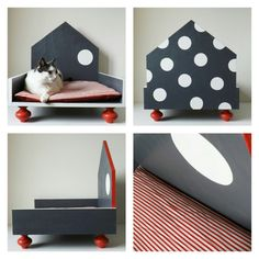 Designer wooden kennel for cats and small by labottegadigiorgix Cat Gym, House Beds, Animal House, Small Dogs, Toddler Bed, Kids Rugs, Colours, Pillows, Pets