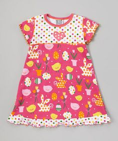 Look what I found on #zulily! Pink Polka Dot Bunny Dress - Toddler & Girls #zulilyfinds